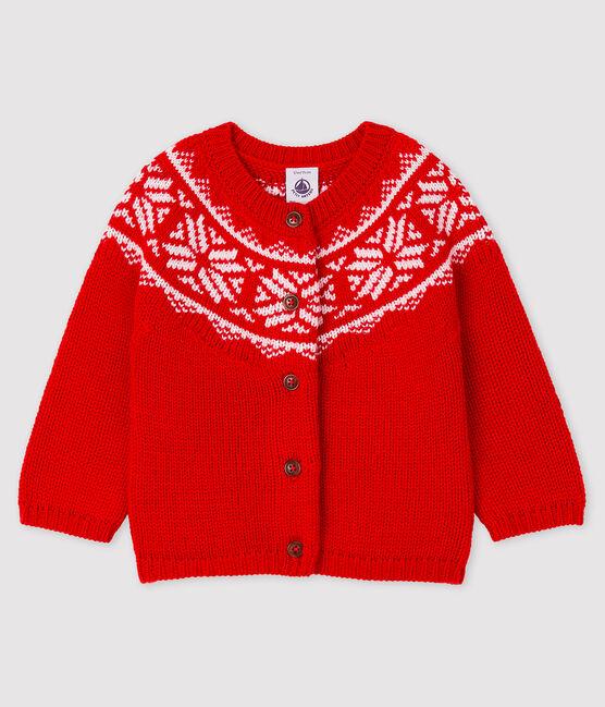 Cardigan 100% laine bébé rouge Terkuit / blanc Marshmallow