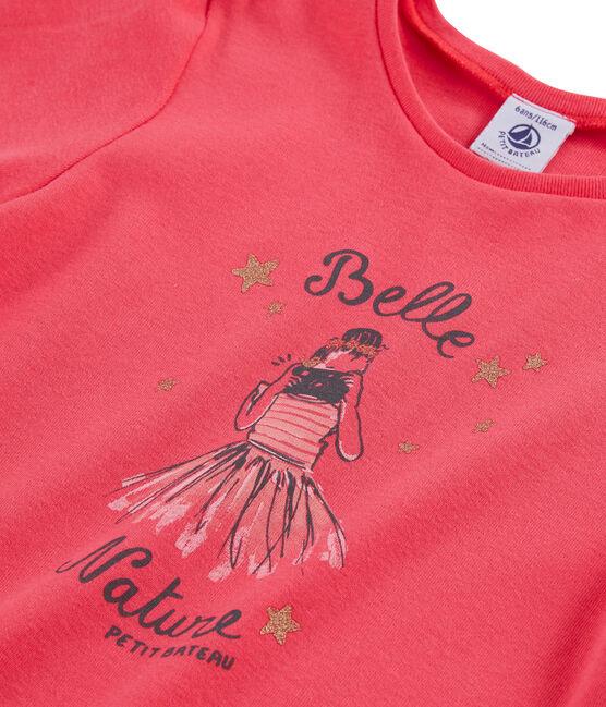 Tee-shirt manches courtes enfant fille rose Groseiller