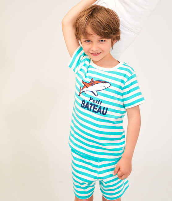 Pyjacourt petit garçon en côte vert Esperanza / blanc Marshmallow