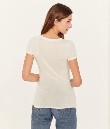 Tee-shirt manches courtes col V femme