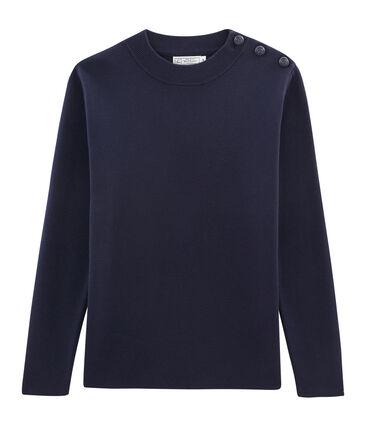 Pull marin en coton tricot côte 1x1. bleu Smoking