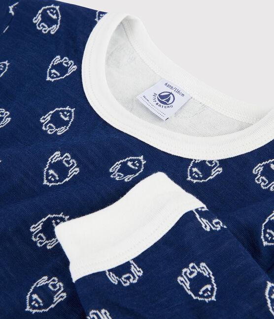 Pyjama jacquard yeti en laine et coton petit garçon bleu Medieval / blanc Marshmallow