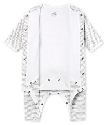 Dors bien sans pieds bébé mixte avec body intégré gris Beluga / blanc Ecume