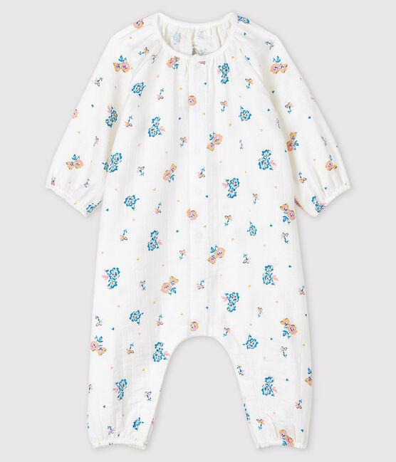 Combinaison longue à imprimé fleuri bébé fille en tissu couche blanc Marshmallow / blanc Multico