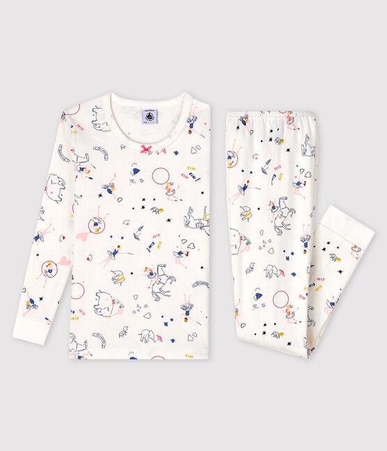 Pyjama snugfit imprimé féérique petite fille en côte blanc Marshmallow / blanc Multico