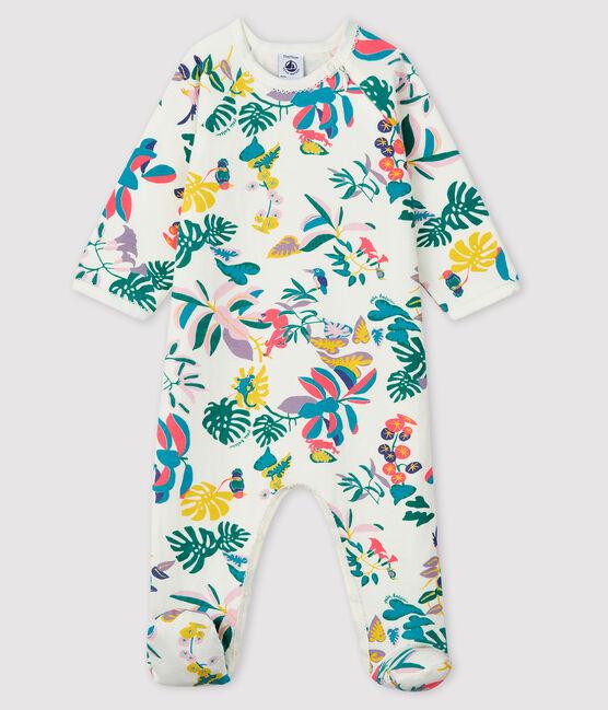Dors-bien zippé bébé fille en tubique blanc Marshmallow / blanc Multico