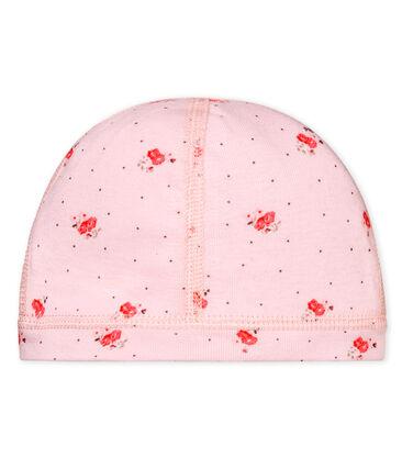 Bonnet naissance bébé mixte imprimé rose Vienne / blanc Multico