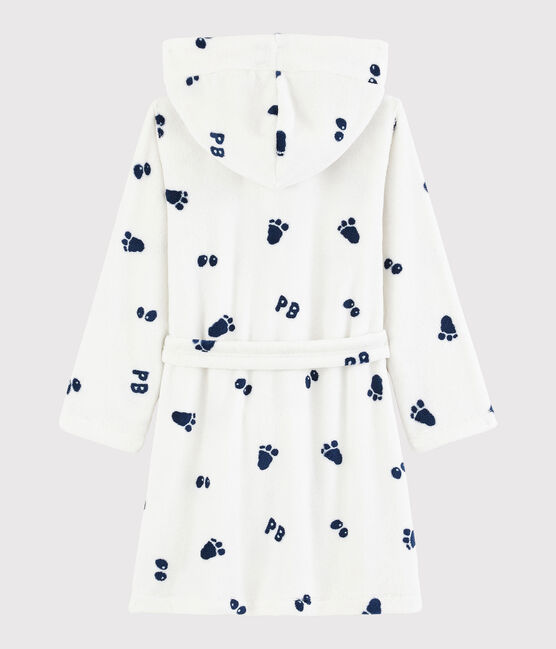Robe de chambre petit garçon en polaire blanc Marshmallow / bleu Medieval