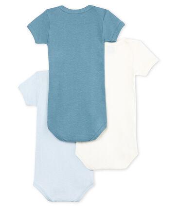Trio de bodies manches courtes bébé garçon en coton et lin