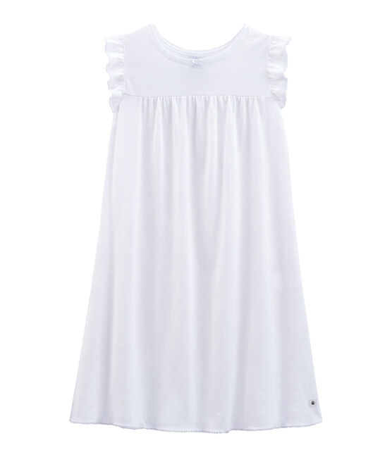 Chemise de nuit petite fille en coton fin blanc Ecume