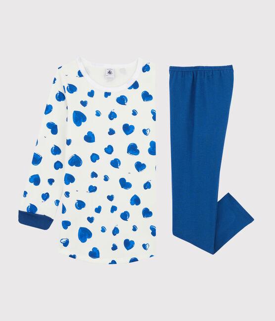 Chemise de nuit cœurs petite fille en molleton avec legging blanc Marshmallow / blanc Multico