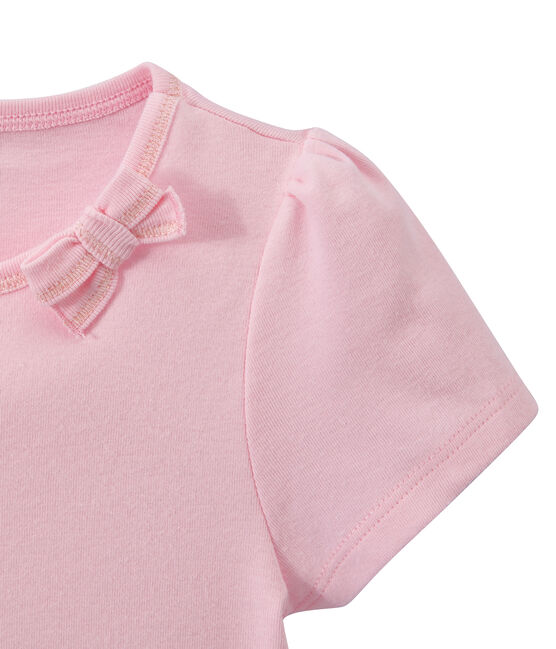 T-shirt fille à petit nœud rose Babylone