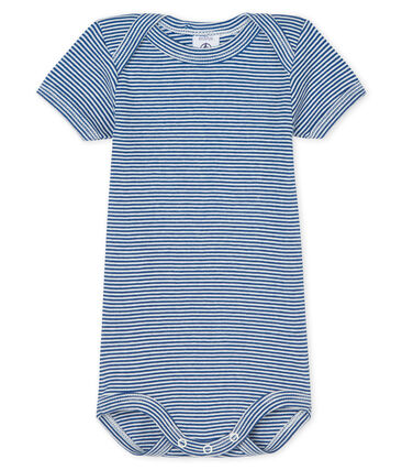 Body manches courtes bébé garçon bleu Limoges / blanc Marshmallow