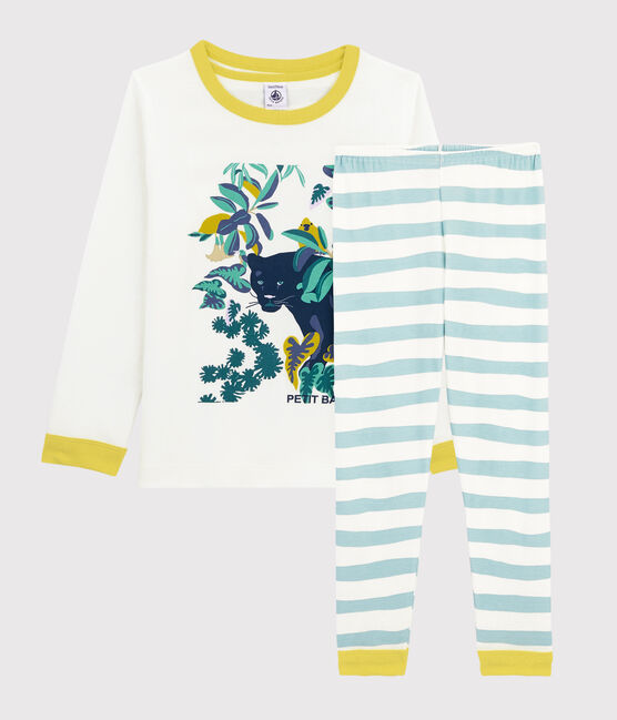 Pyjama motif panthère petit garçon en côte blanc Marshmallow / bleu Crystal