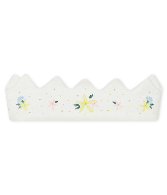 Couronne bébé fille en côte blanc Marshmallow