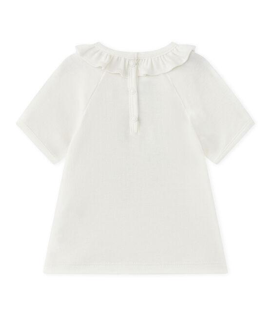 Tee-shirt bébé fille manches courtes blanc Marshmallow / bleu Smoking