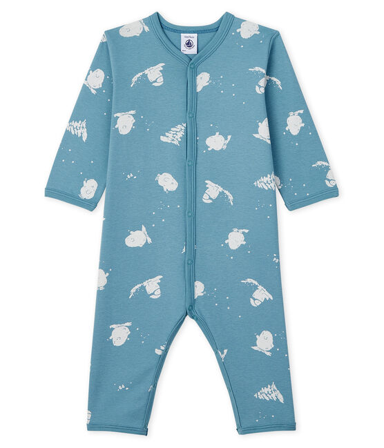 Dors-bien sans pieds bébé imprimé yéti en coton BRUME/MARSHMALLOW