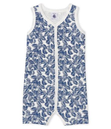 Combicourt bébé garçon en côte blanc Marshmallow / bleu Bleu