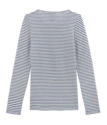 Tee shirt manches longues coton et laine pour femme bleu Turquin / blanc Marshmallow