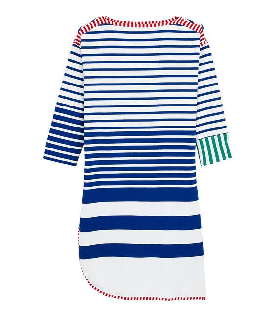 Robe réédition Hyères femme blanc Lait / bleu Surf
