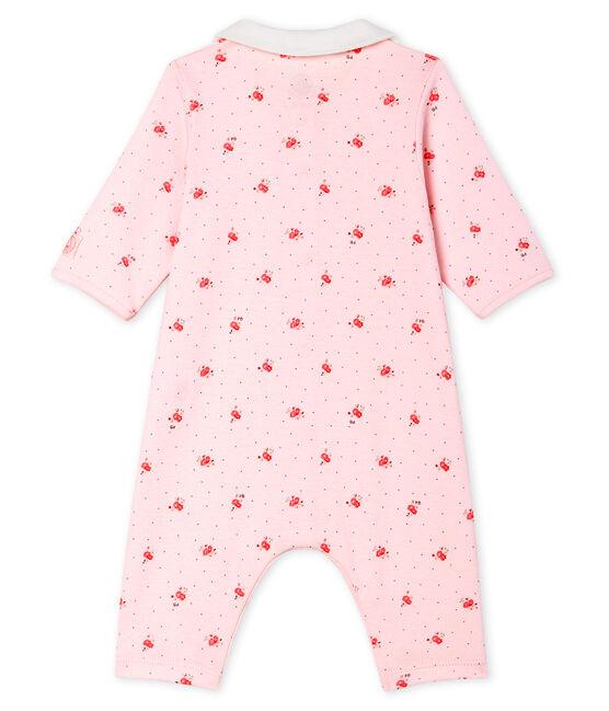 Dors bien sans pieds bébé en côte rose Vienne / blanc Multico