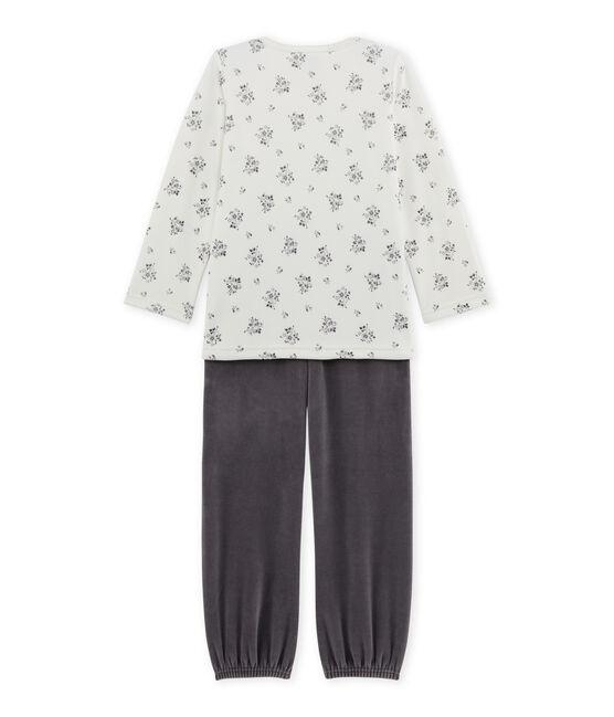 Pyjama fille en bouclette velours gris Maki / blanc Lait