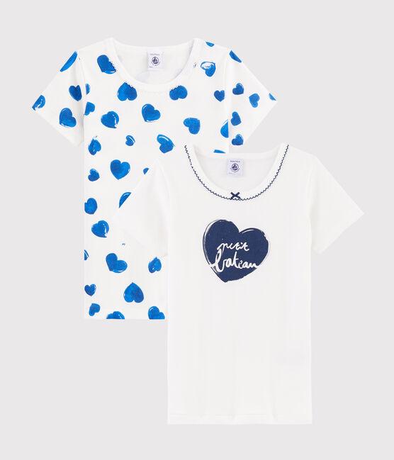 Lot de 2 tee-shirts manches courtes cœurs petite fille lot .