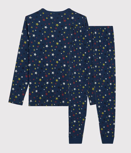 Pyjama étoiles mixte en côte bleu Medieval / blanc Multico