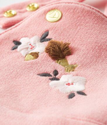 Salopette longue bébé fille en molleton rose Charme
