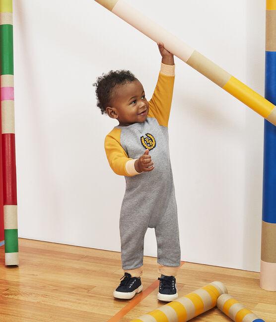 Combinaison longue bébé garçon en molleton gris Subway / jaune Boudor