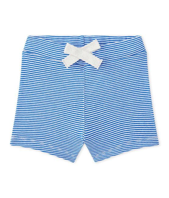 Short bébé garçon rayé bleu Perse / blanc Marshmallow