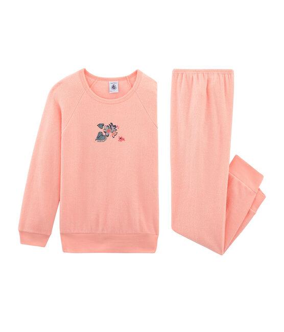 Pyjama petite fille en bouclette éponge grattée rose Rosako