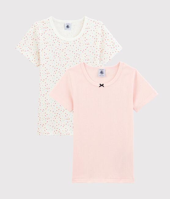 Lot de 2 tee-shirts manches courtes pois multico petite fille en coton biologique lot .
