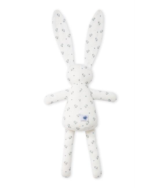 Doudou lapin bébé mixte imprimé blanc Lait / blanc Multico