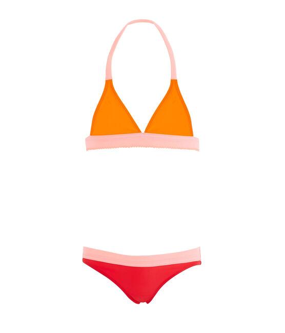Maillot de bain 2 pièces écoresponsable enfant fille orange Tiger / blanc Multico