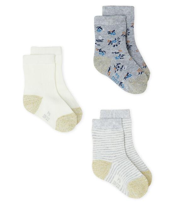 Lot de 3 paires de chaussettes bébé fille gris Beluga