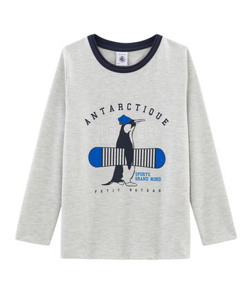 Tee-shirt manches longues garçon gris Beluga