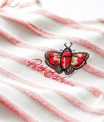 Robe manches courtes rayée bébé fille blanc Marshmallow / rose Joli Brillant