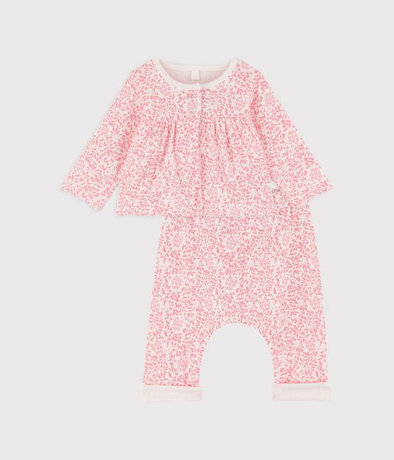 Ensemble 2 pièces bébé fille en côte blanc Marshmallow / rose Gretel