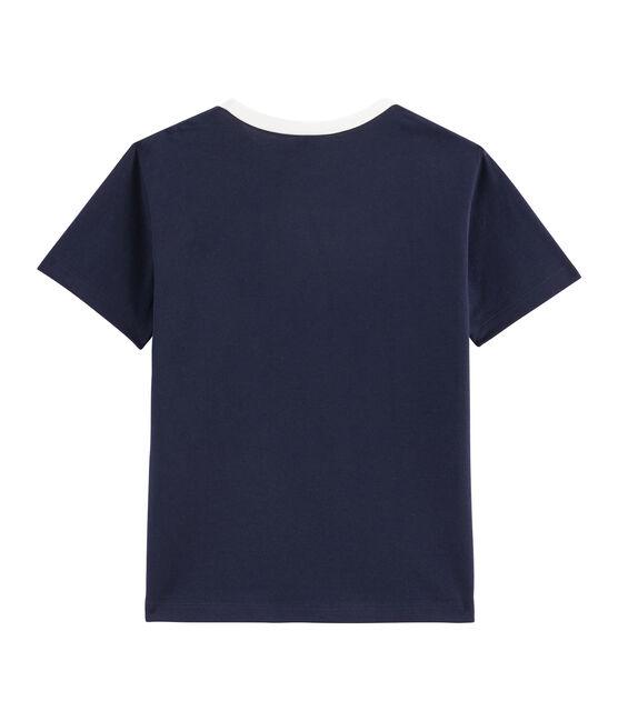 Tee-shirt enfant garcon bleu Smoking / blanc Marshmallow