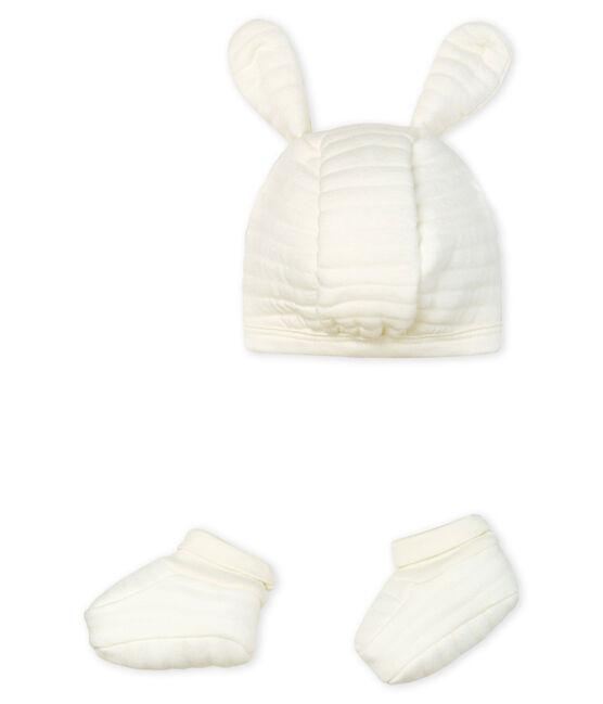Lot bonnet et chaussons bébé en tubique lot .