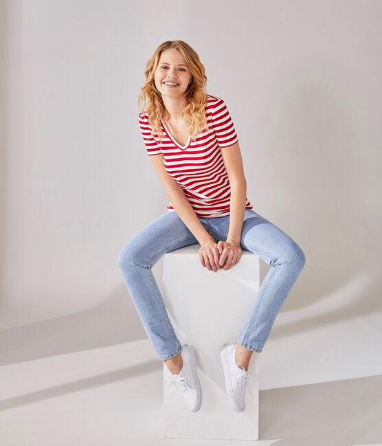 T-shirt femme col V en côte originale rayée rouge Terkuit / blanc Marshmallow