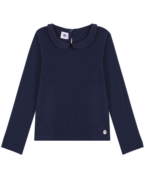 Tee-shirt manches longues en coton enfant fille bleu Smoking