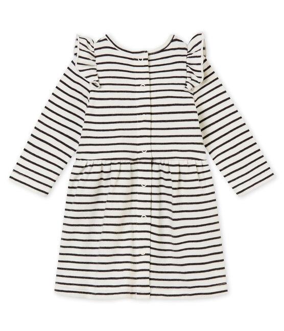 Robe rayure marinière bébé fille blanc Marshmallow / noir City