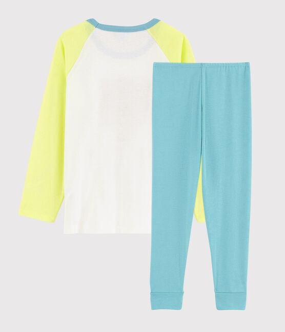 Pyjama motif léopard petit garçon en coton jaune Sunny / blanc Multico