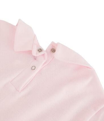 T-shirt fille à col claudine rose Vienne