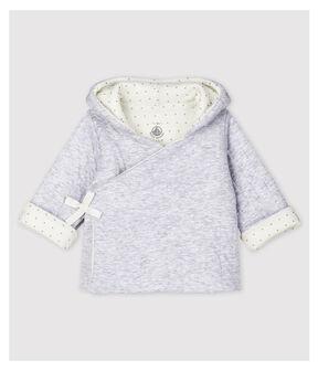 Veste à capuche grise bébé en tubique matelassé en coton biologique gris Poussiere Chine
