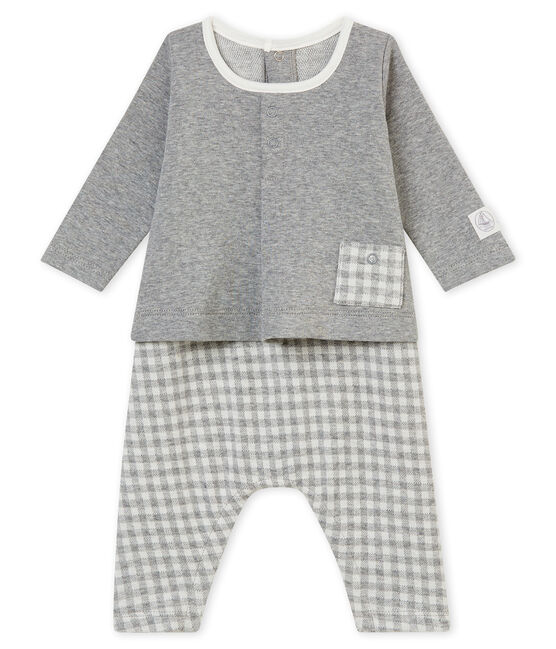Combinaison longue vichy bébé garçon gris Subway / blanc Marshmallow