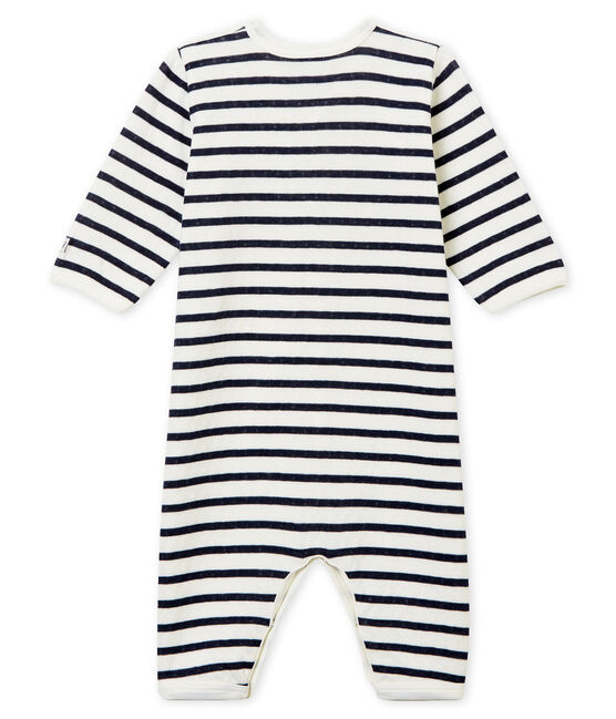 Dors bien sans pieds bébé mixte en tubique blanc Marshmallow / bleu Smoking