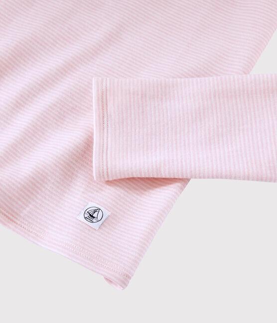 T-shirt laine et coton Femme rose Charme / blanc Marshmallow